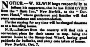W Elwin's Hotel news clipping of 1844